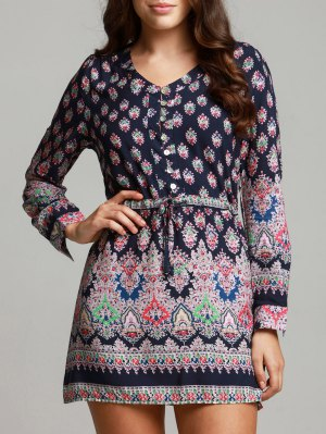 Bohemian V-Neck Printed Drawstring Beach Dress For Women