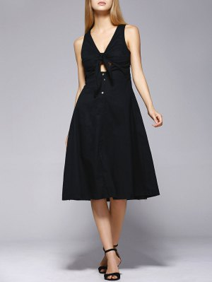 Knotted Midi Dress - Black