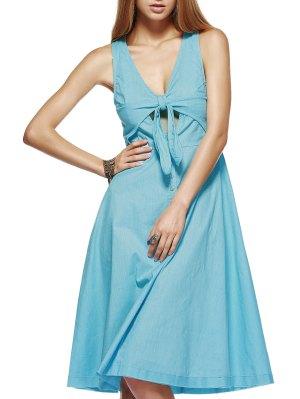 Vestido A Media Pierna Con Nudos - Azul