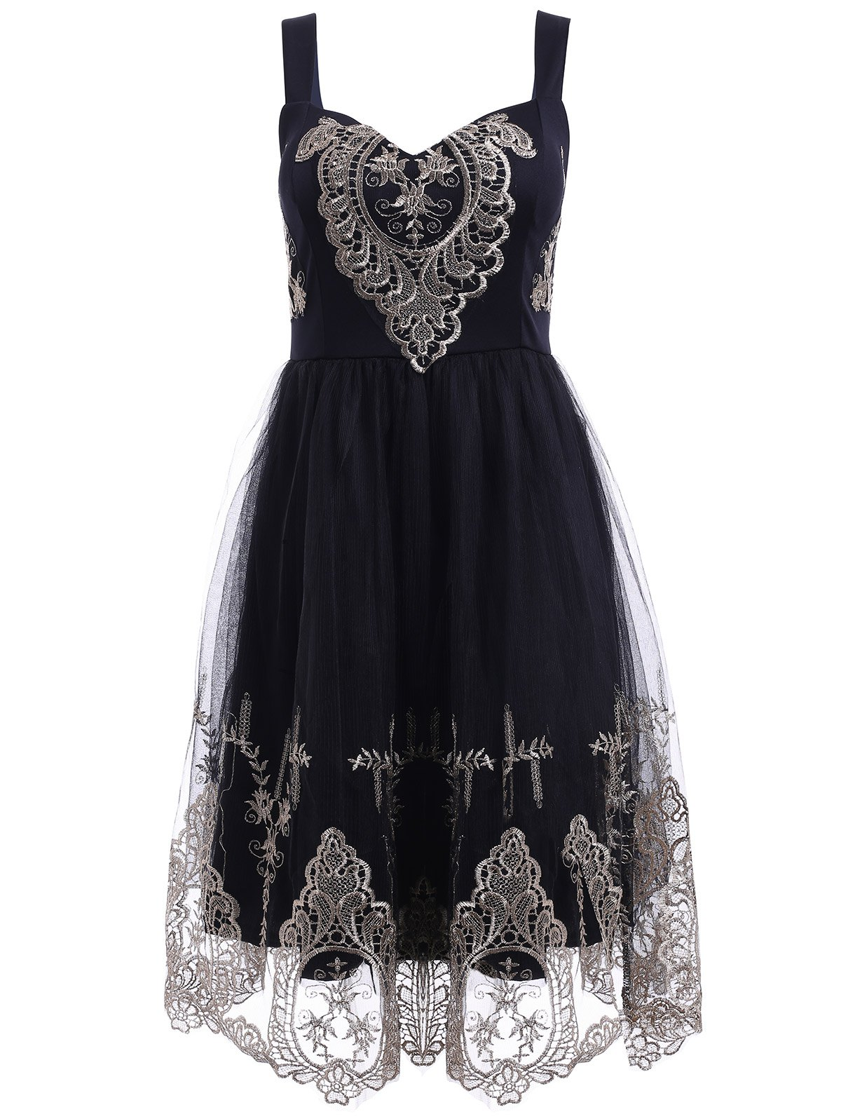 Elegant Straps Golden Lace Floral Embellished Dress For Women 184984004
