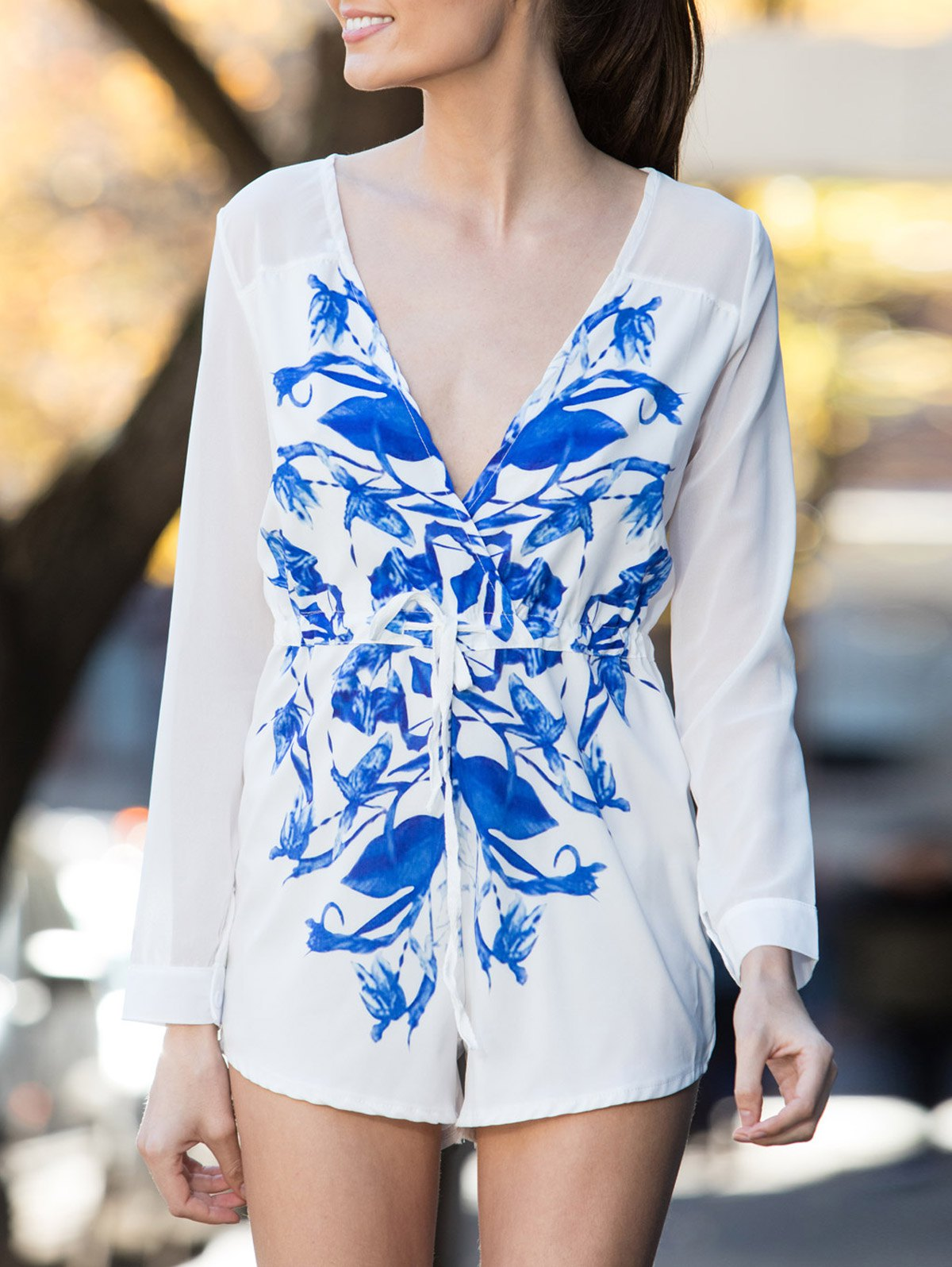 Stylish V-Neck Floral Print Drawstring Romper For WomenClothes<br><br><br>Size: XL<br>Color: WHITE