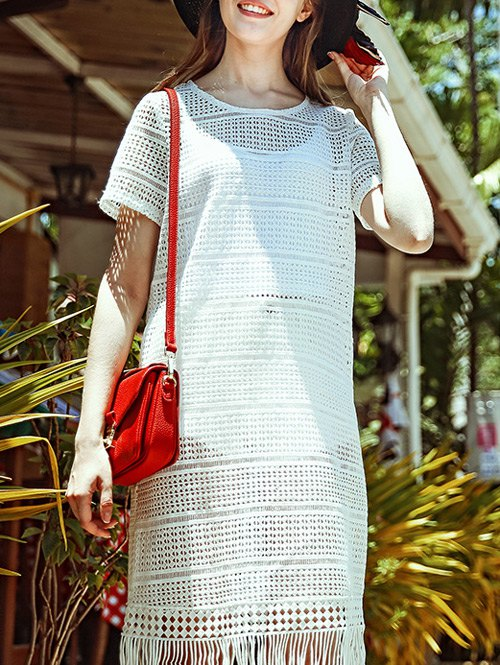 Openwork Fringed Crochet Dress