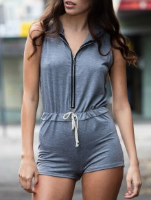 Gray Hooded Sleeveless Zipper Romper - Gray Xl