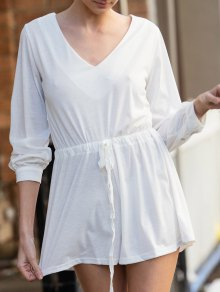 Long Sleeve Drawstring Design White Romper