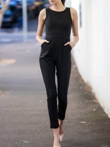 Scoop Neck Black Backless Sleeveless Jumpsuit - Black