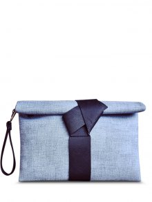 Colour Block PU Leather Clutch Bag - Blue