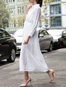 White Turn Down Collar Long Sleeve Maxi Dress - White