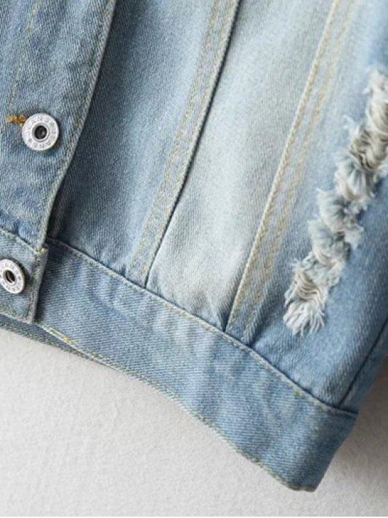 Embellished Shirt Collar Distressed Denim Jacket - LIGHT BLUE M Mobile