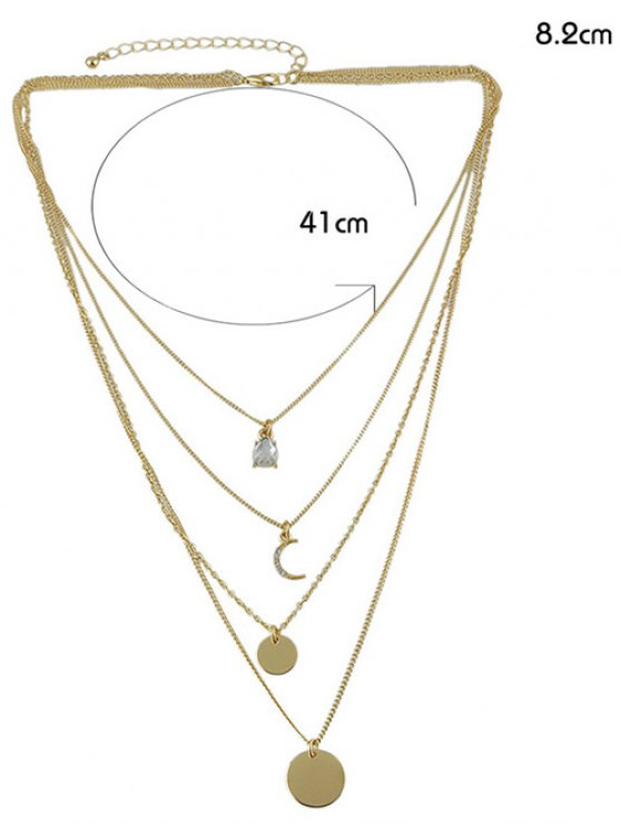 Rhinestone Moon Multilayered Necklace - GOLDEN  Mobile