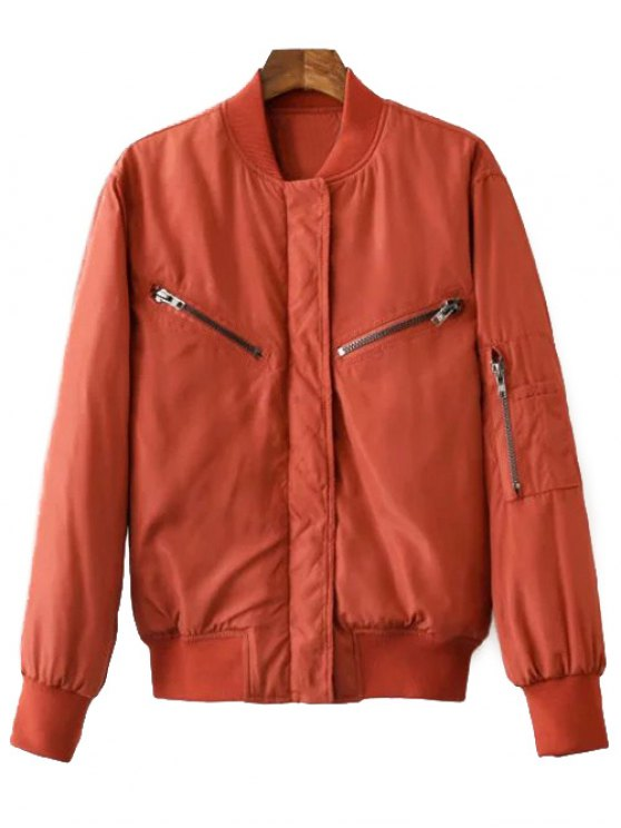 Zipper Embellished Stand Neck Thicken Jacket - LATERITE M Mobile