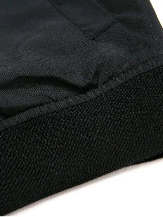 Black Stand Neck Long Sleeve Zipper Up Jacket - BLACK L Mobile