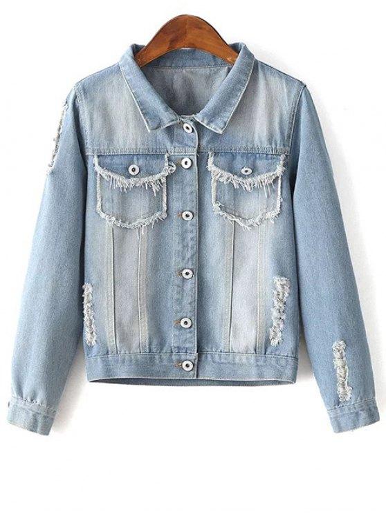 Sequins Embellished Shirt Collar Distressed Denim Jacket - LIGHT BLUE M Mobile