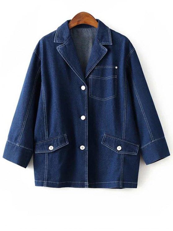Buttons Lapel Collar Long Sleeve Denim Coat - DEEP BLUE S Mobile