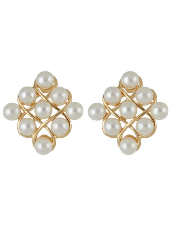 unique Faux Pearl Stud Earrings - GOLDEN