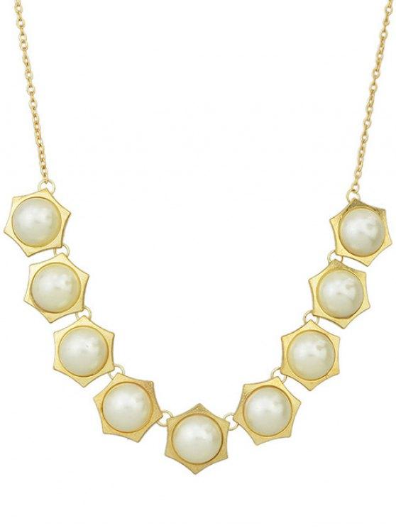 Faux collier de perles géométrique - Or