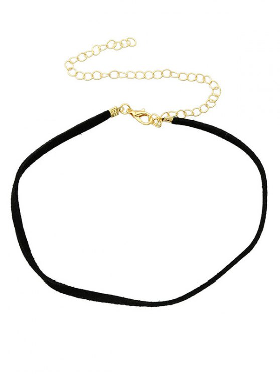 shop Adjustable Velvet Chokers Necklace - BLACK