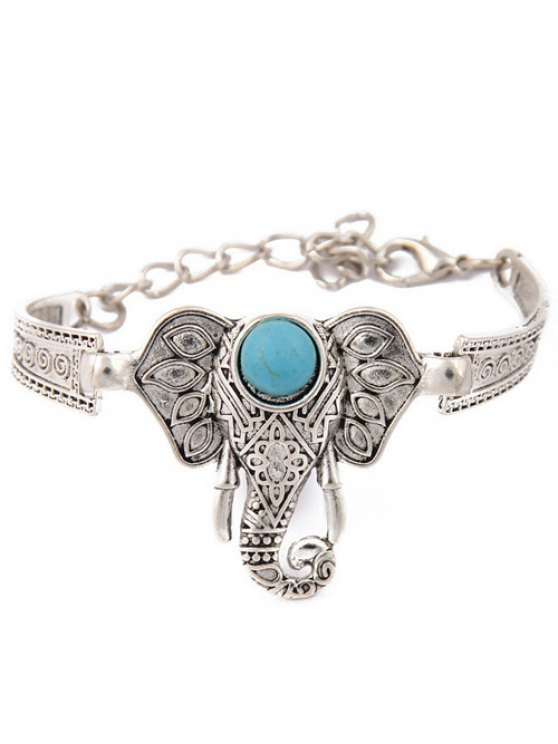 affordable Faux Turquoise Elephant Bracelet - SILVER