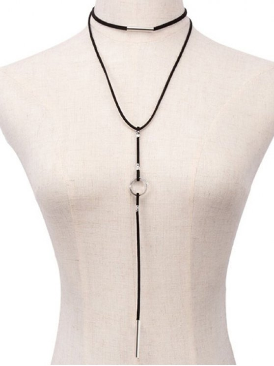 womens Geometric Choker Necklace - BLACK