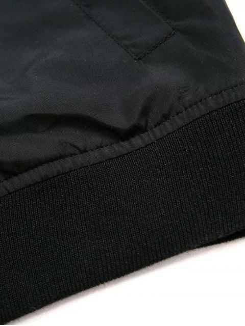 womens Black Stand Neck Long Sleeve Zipper Up Jacket - BLACK L Mobile