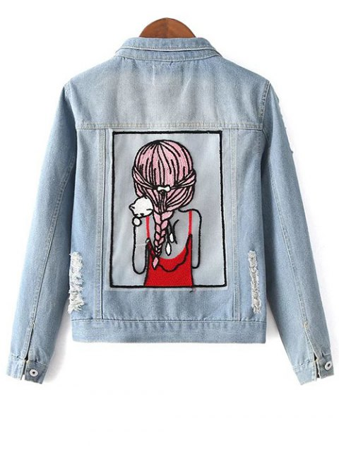 best Embellished Shirt Collar Distressed Denim Jacket - LIGHT BLUE M Mobile