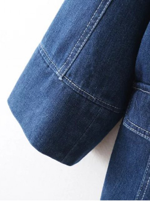 new Buttons Lapel Collar Long Sleeve Denim Coat - DEEP BLUE M Mobile