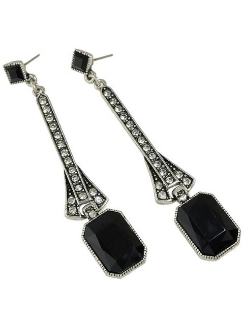 chic Faux Gem Long Drop Earrings - BLACK  Mobile
