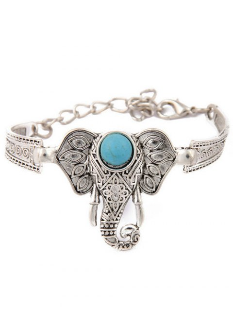 affordable Faux Turquoise Elephant Bracelet - SILVER  Mobile