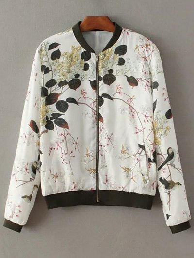 Printed Stand Neck Long Sleeve Zipper Up Jacket - WHITE S Mobile