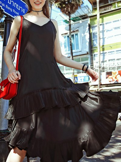 Spaghetti Strap Black Ruffled Dress