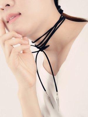Velvet Cone Rivet Wrap Necklace - Black