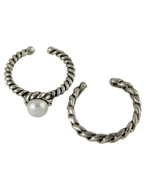Faux Pearl Opening Rings - Silver