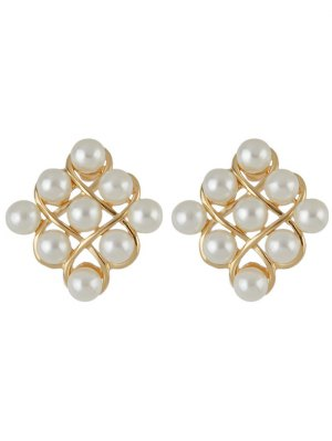 Faux Pearl Stud Earrings - Golden
