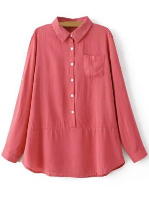 Solid Color Shirt Collar Long Sleeve Pocket Blouse - Watermelon Red