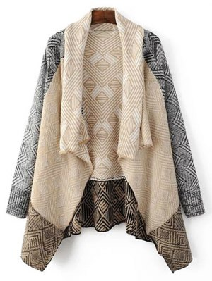 Argyle Shawl Collar Cardigan - Light Apricot