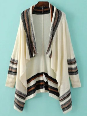 Striped Long Sleeve Color Block Cardigan - Beige