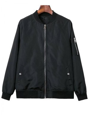 Black Stand Neck Long Sleeve Zipper Up Jacket - Black