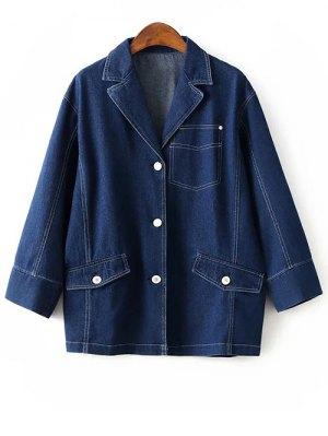 Buttons Lapel Collar Long Sleeve Denim Coat - Deep Blue