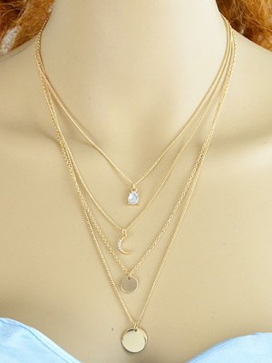Rhinestone Moon Multilayered Necklace - Golden