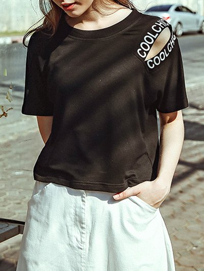 Cut-Out Cropped T-Shirt