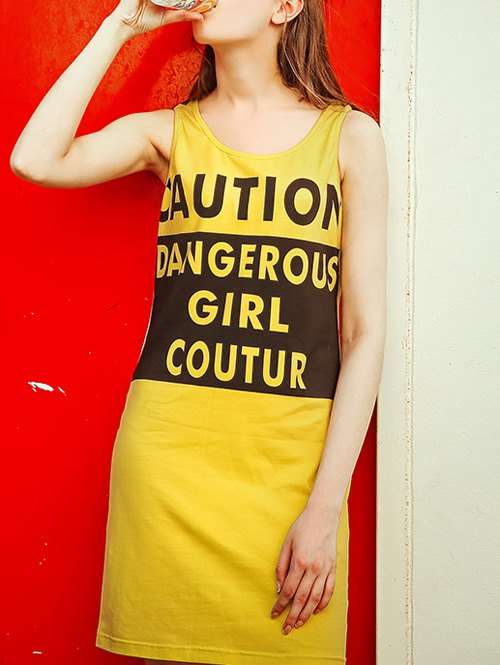 Scoop Neck Letter Yellow Sundress
