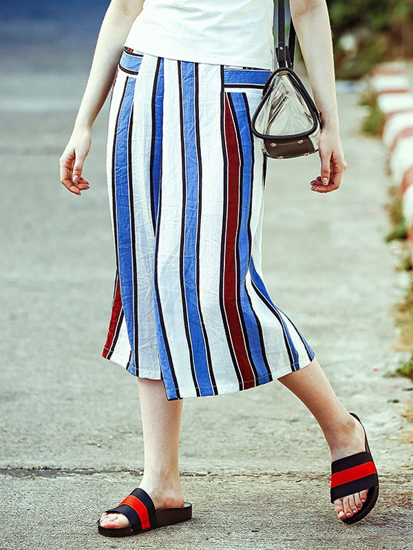 Striped Elastic Waist Wide Leg Capri Pants 188338001