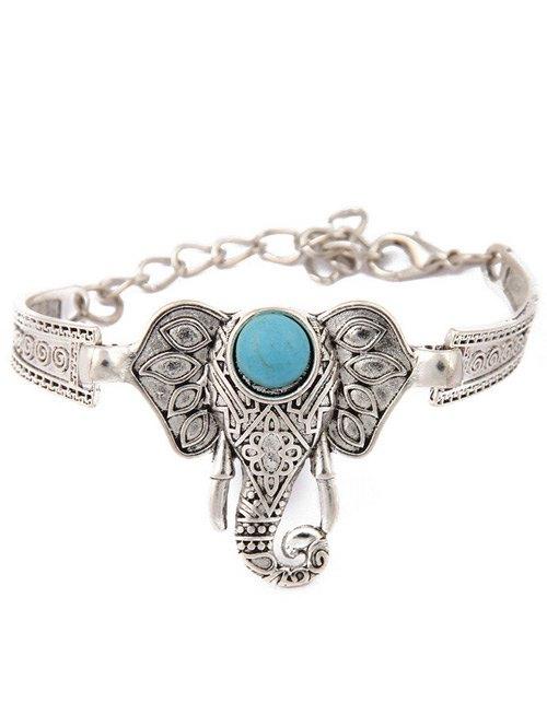 Faux Turquoise Emboss Elephant Bracelet