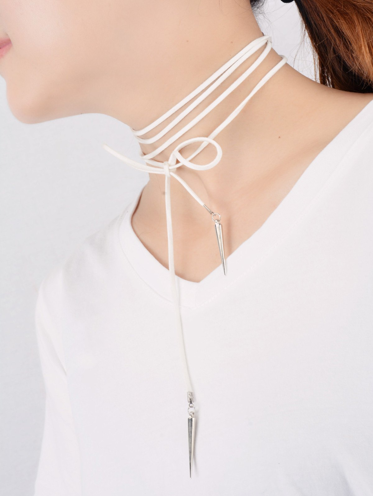 Cone Rivet Wrap Necklace