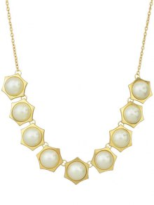 Fake Pearl Geometric Necklace