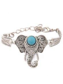 Faux Turquoise Elephant Bracelet - Silver