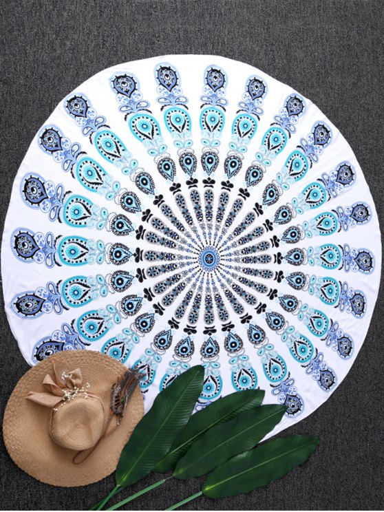 fancy Sandless Round Beach Mat - BLUE AND GREEN ONE SIZE(FIT SIZE XS TO M)