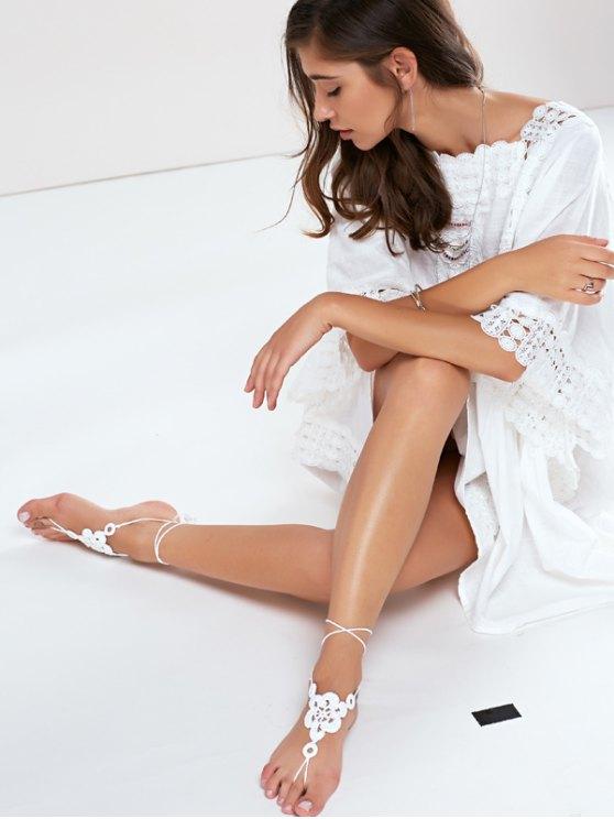 Floral Woven Sandal Anklets - WHITE  Mobile
