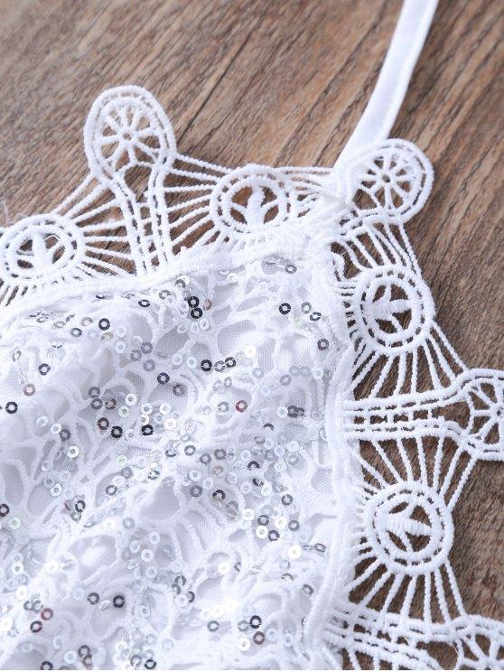 Sequins Embellished Halter Lace Camisole - WHITE L Mobile