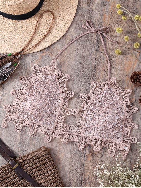 Halter de las lentejuelas de la camiseta del cordón embellecido - Rosa Luz S