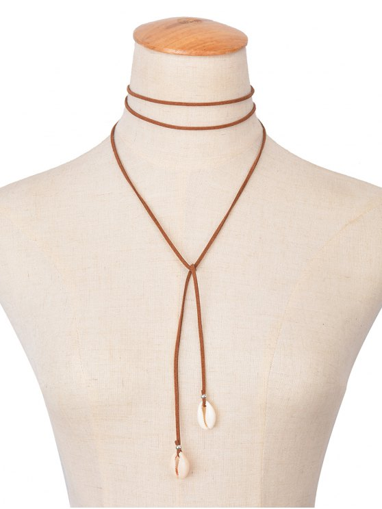 shop Shell  Pendant Velvet Wrap Necklace - COFFEE